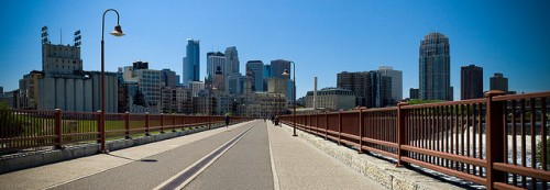 Minneapolis skyline from an empty bridge