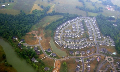 Aerial view of a new subdivision