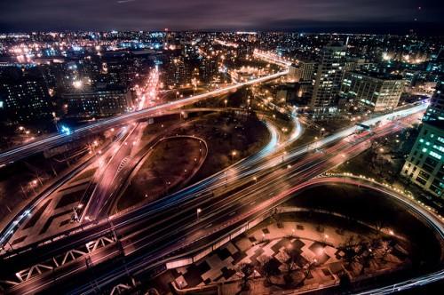 Night traffic in New York City