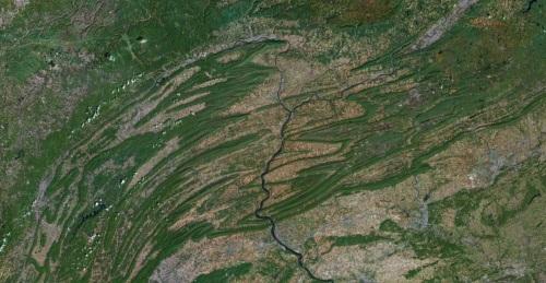 Satellite view of Appalachian Mountains in Pennsylvania