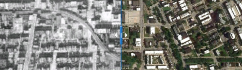 Click to view interactive before-and-after photographs of Chicago's Green Line