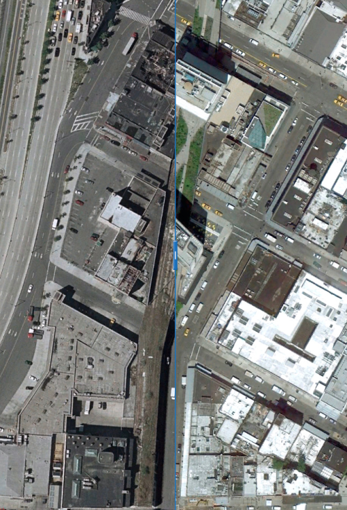 Click to view interactive before-and-after photographs of New York City's High Line