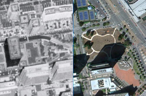 Click to view interactive before-and-after photographs of Sue Bierman Park